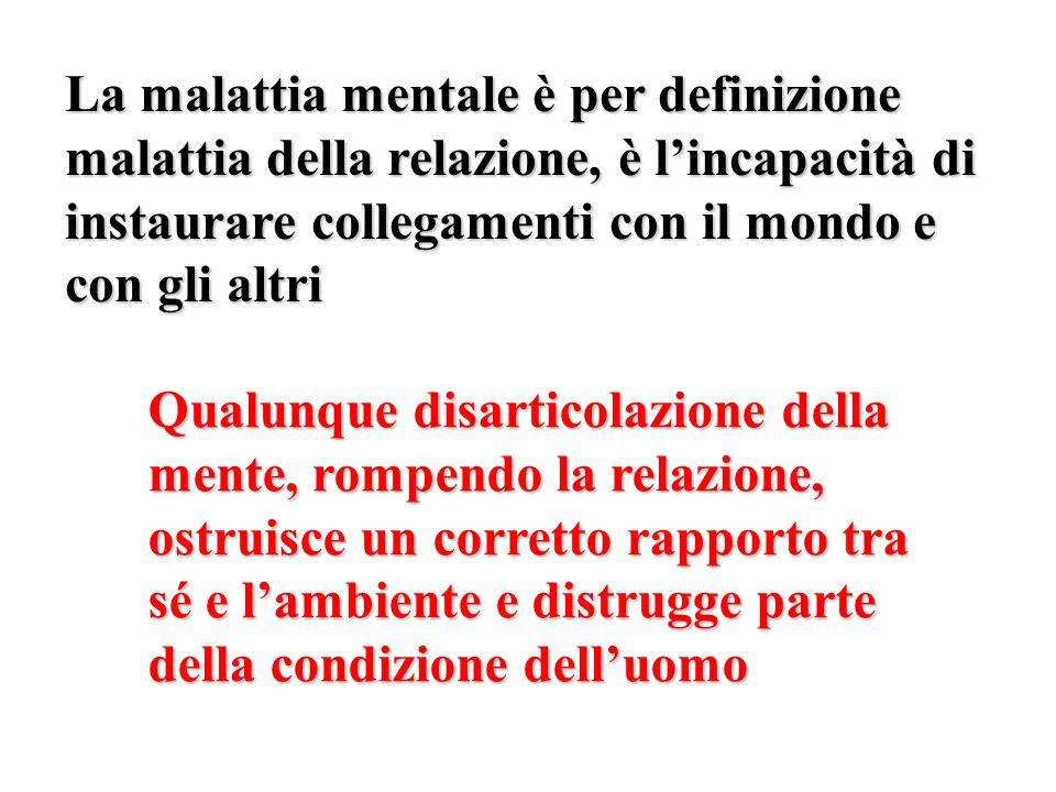 La malattia mentale è per definizione malattia della relazione, è lincapacità di instaurare collegamenti con il mondo e con gli altri Qualunque disart