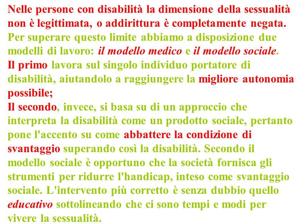 Nelle persone con disabilità la dimensione della sessualità non è legittimata, o addirittura è completamente negata. Per superare questo limite abbiam