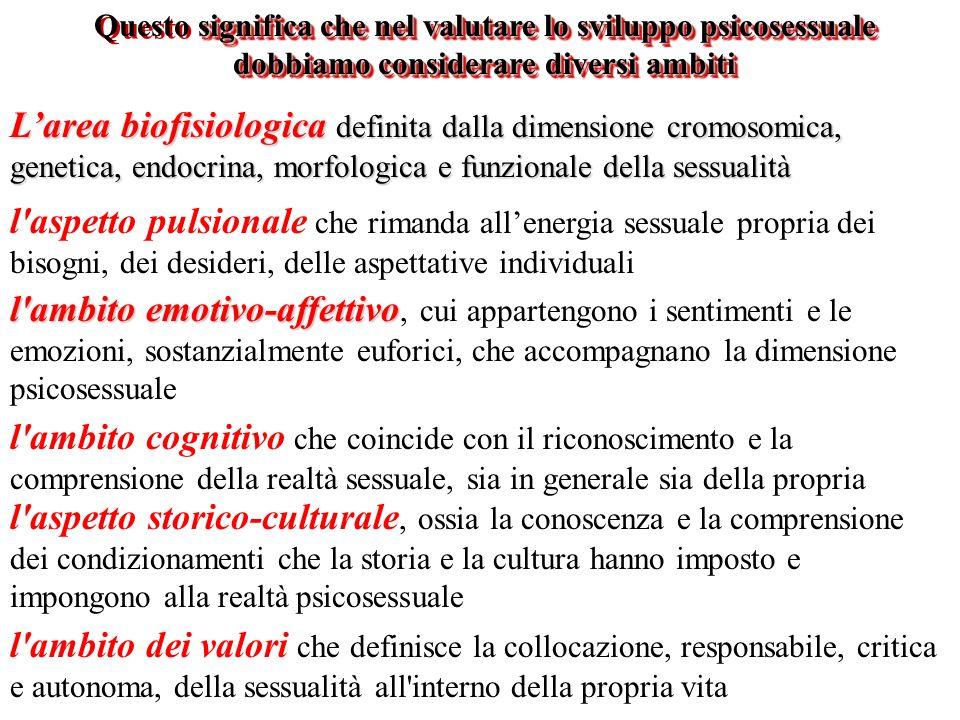significa che nel valutare lo sviluppo psicosessuale dobbiamo considerare diversi ambiti Questo significa che nel valutare lo sviluppo psicosessuale d
