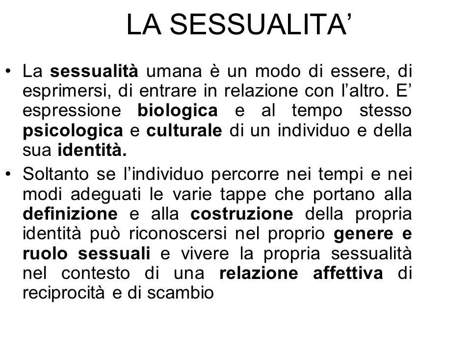 La sessualità umana è un modo di essere, di esprimersi, di entrare in relazione con laltro. E espressione biologica e al tempo stesso psicologica e cu