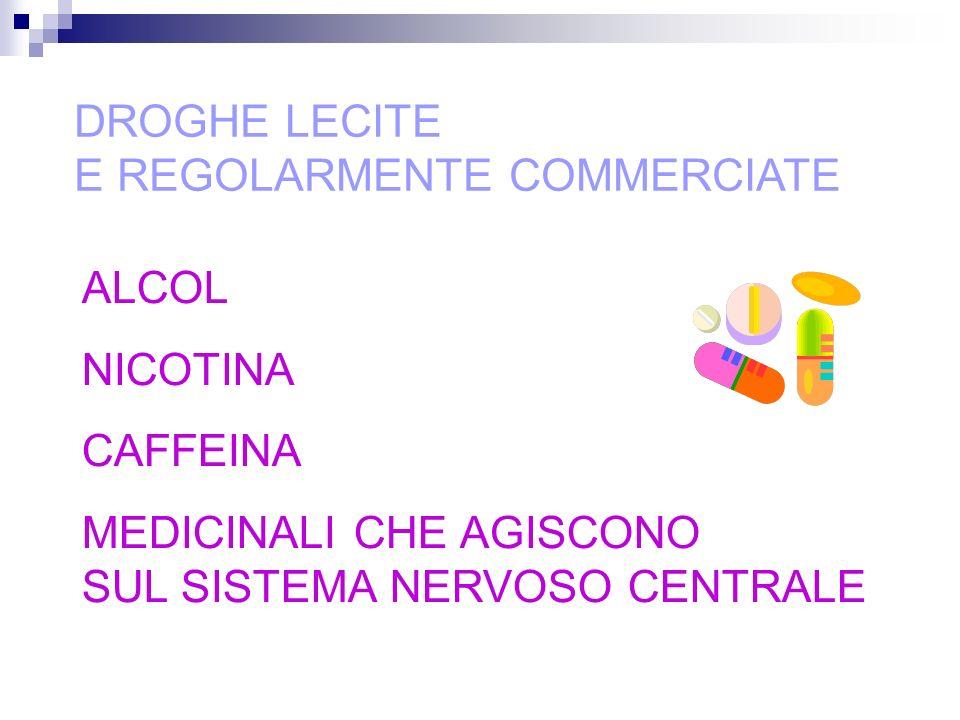 DROGHE LECITE E REGOLARMENTE COMMERCIATE ALCOL NICOTINA CAFFEINA MEDICINALI CHE AGISCONO SUL SISTEMA NERVOSO CENTRALE