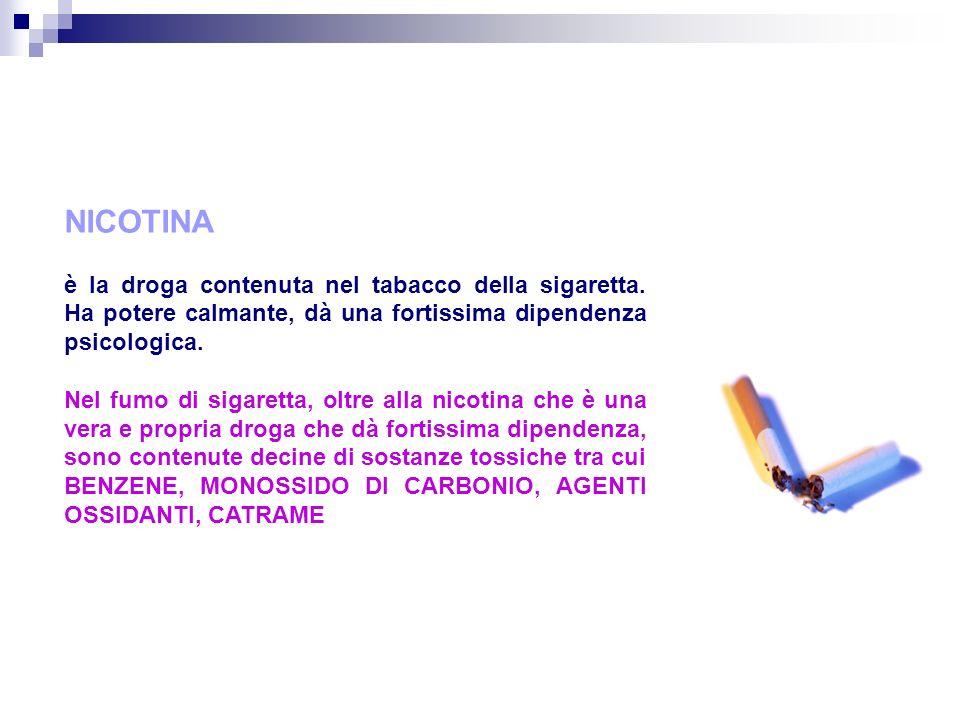 NICOTINA è la droga contenuta nel tabacco della sigaretta.
