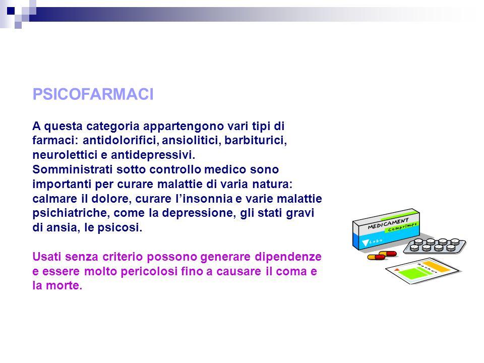 PSICOFARMACI A questa categoria appartengono vari tipi di farmaci: antidolorifici, ansiolitici, barbiturici, neurolettici e antidepressivi.
