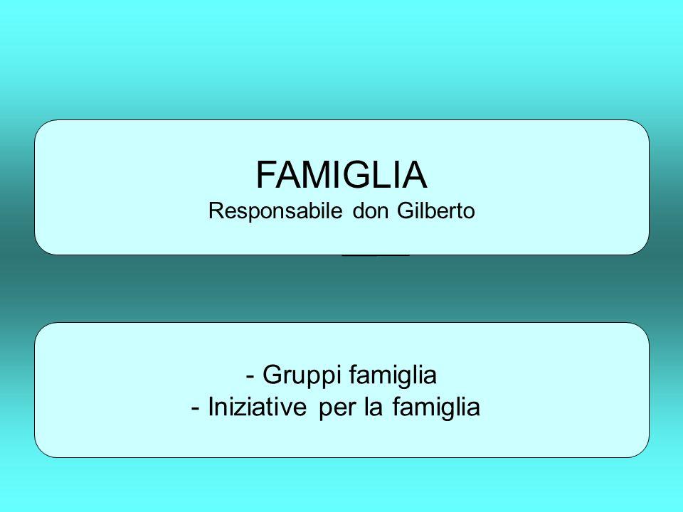 FAMIGLIA Responsabile don Gilberto - Gruppi famiglia - Iniziative per la famiglia