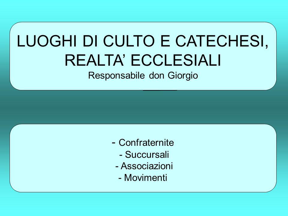 LUOGHI DI CULTO E CATECHESI, REALTA ECCLESIALI Responsabile don Giorgio - Confraternite - Succursali - Associazioni - Movimenti