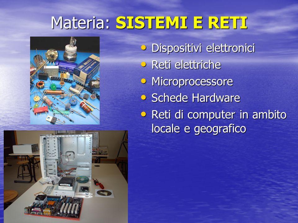Materia: SISTEMI E RETI Dispositivi elettronici Dispositivi elettronici Reti elettriche Reti elettriche Microprocessore Microprocessore Schede Hardwar