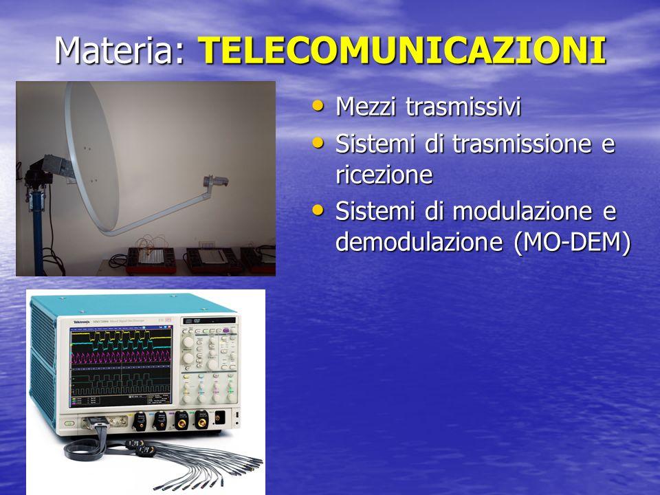 Materia: TELECOMUNICAZIONI Mezzi trasmissivi Mezzi trasmissivi Sistemi di trasmissione e ricezione Sistemi di trasmissione e ricezione Sistemi di modu