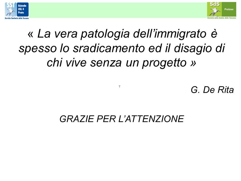 « La vera patologia dellimmigrato è spesso lo sradicamento ed il disagio di chi vive senza un progetto » G. De Rita GRAZIE PER LATTENZIONE T