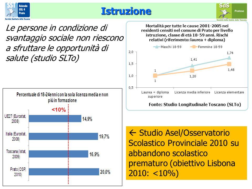 Istruzione Le persone in condizione di svantaggio sociale non riescono a sfruttare le opportunità di salute (studio SLTo) Studio Asel/Osservatorio Scolastico Provinciale 2010 su abbandono scolastico prematuro (obiettivo Lisbona 2010: <10%) <10%