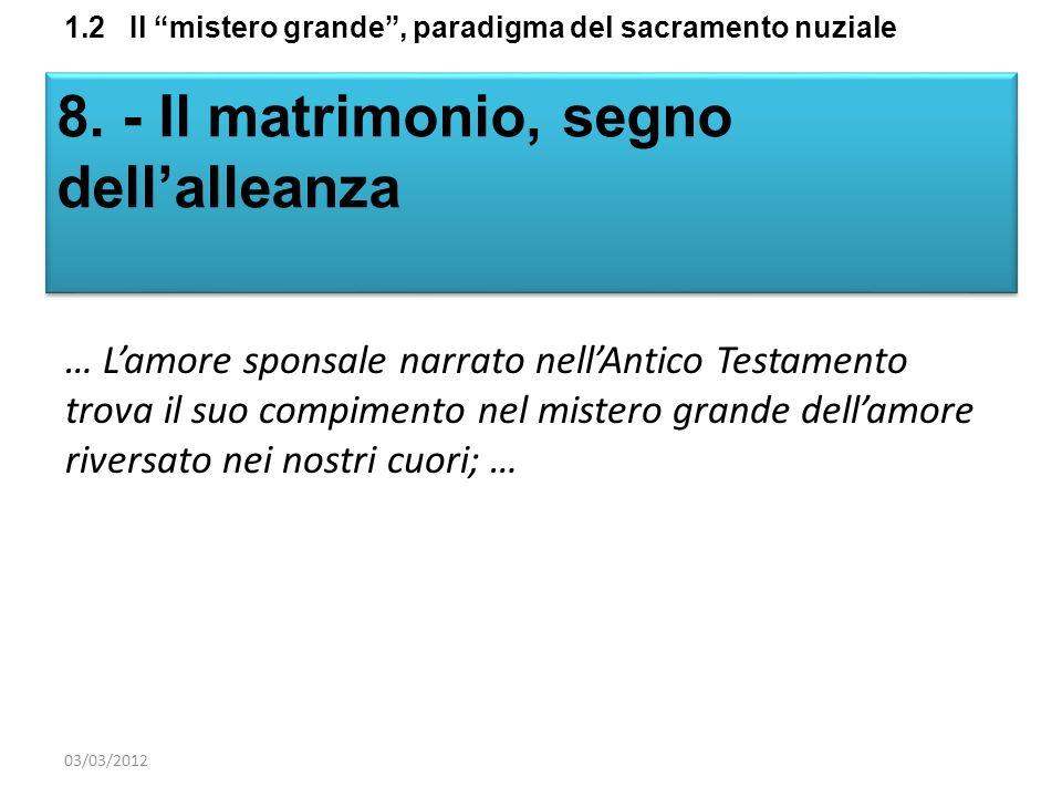 1.2 Il mistero grande, paradigma del sacramento nuziale 8. - Il matrimonio, segno dellalleanza … Lamore sponsale narrato nellAntico Testamento trova i