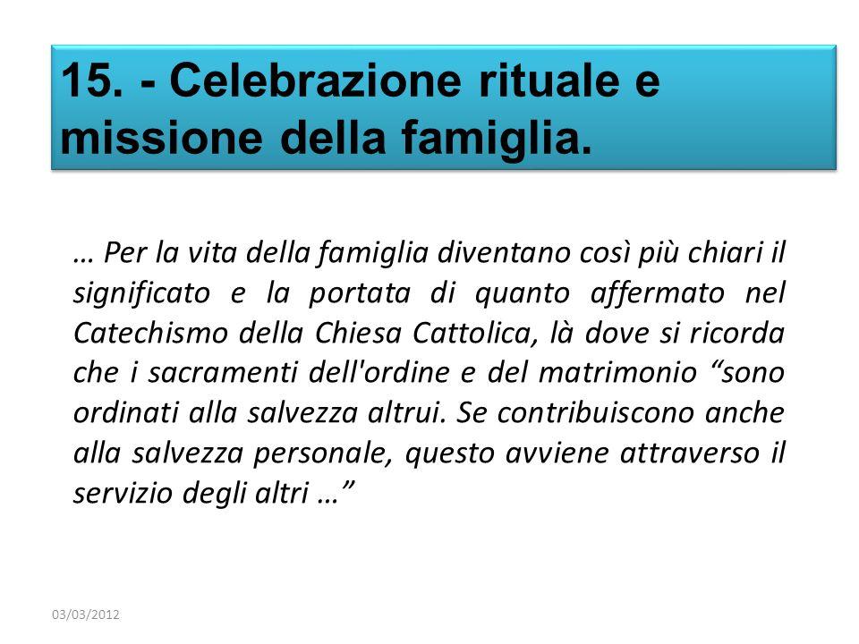 15. - Celebrazione rituale e missione della famiglia. … Per la vita della famiglia diventano così più chiari il significato e la portata di quanto aff