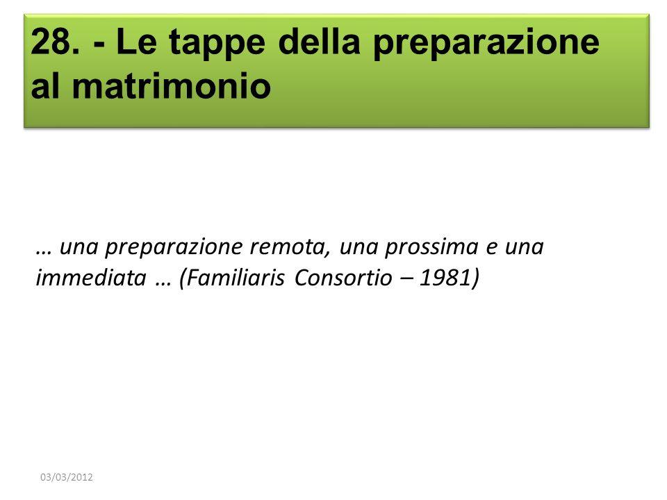 28. - Le tappe della preparazione al matrimonio … una preparazione remota, una prossima e una immediata … (Familiaris Consortio – 1981) 03/03/2012