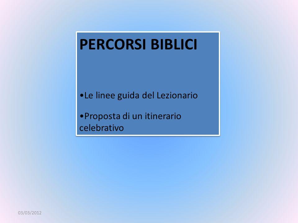 PERCORSI BIBLICI Le linee guida del Lezionario Proposta di un itinerario celebrativo PERCORSI BIBLICI Le linee guida del Lezionario Proposta di un iti