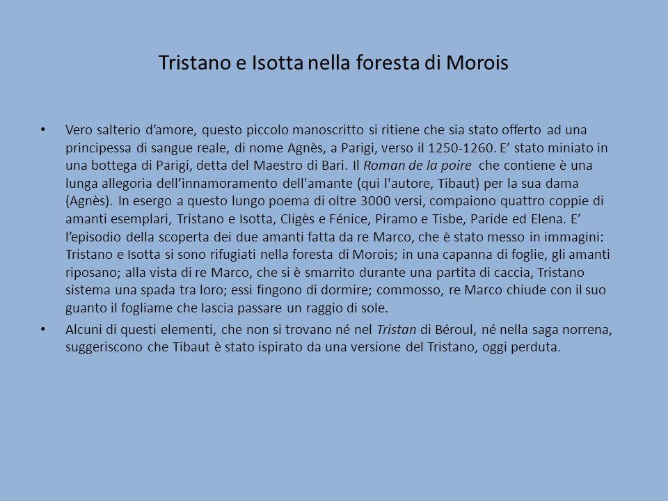 Tristano e Isotta nella foresta di Morois Vero salterio damore, questo piccolo manoscritto si ritiene che sia stato offerto ad una principessa di sang