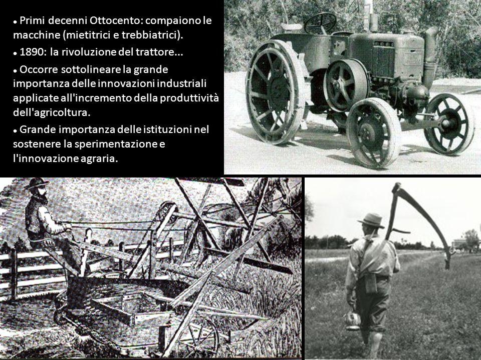Primi decenni Ottocento: compaiono le macchine (mietitrici e trebbiatrici).