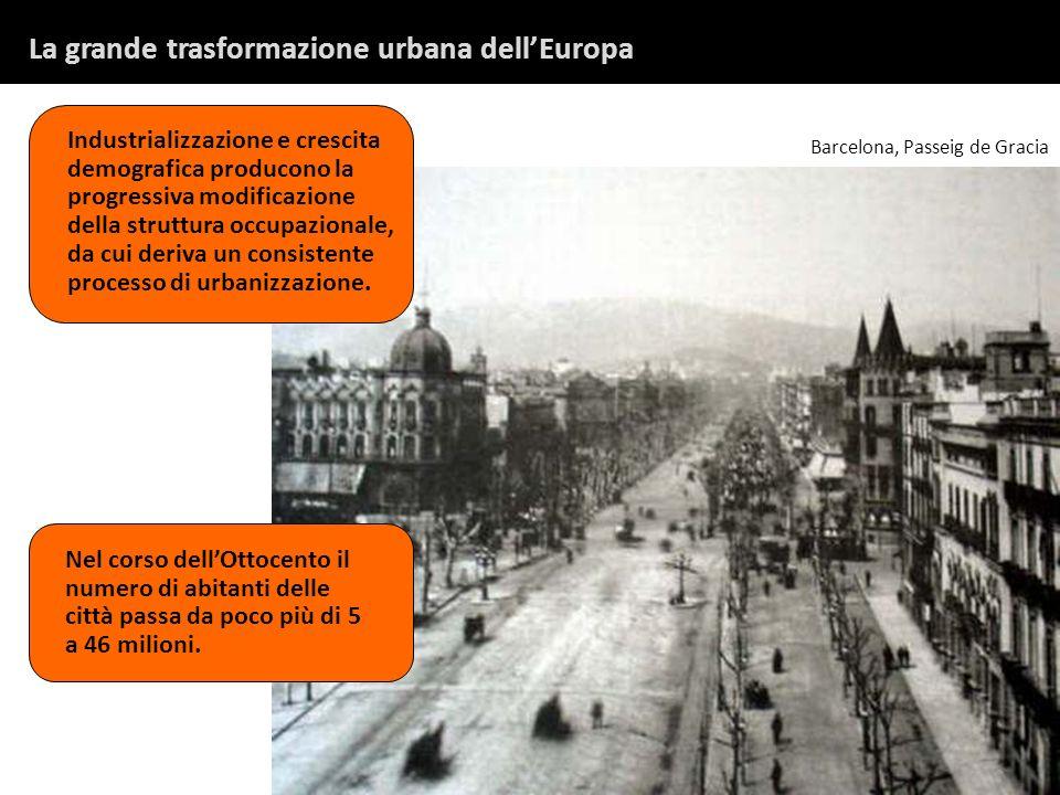 La grande trasformazione urbana dellEuropa Industrializzazione e crescita demografica producono la progressiva modificazione della struttura occupazionale, da cui deriva un consistente processo di urbanizzazione.
