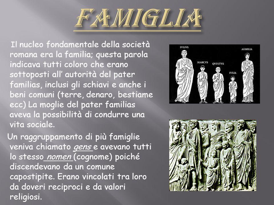 Il nucleo fondamentale della società romana era la familia; questa parola indicava tutti coloro che erano sottoposti all autorità del pater familias,