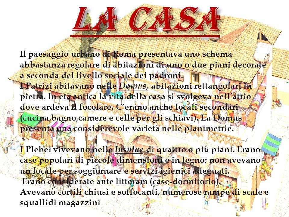 Il paesaggio urbano di Roma presentava uno schema abbastanza regolare di abitazioni di uno o due piani decorate a seconda del livello sociale dei padr
