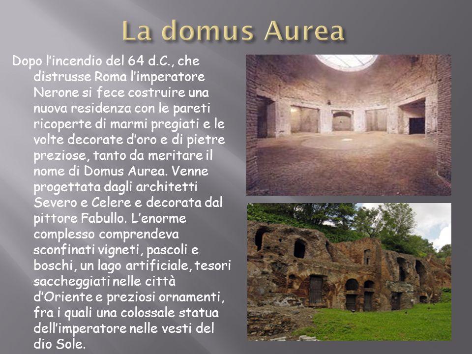 Dopo lincendio del 64 d.C., che distrusse Roma limperatore Nerone si fece costruire una nuova residenza con le pareti ricoperte di marmi pregiati e le
