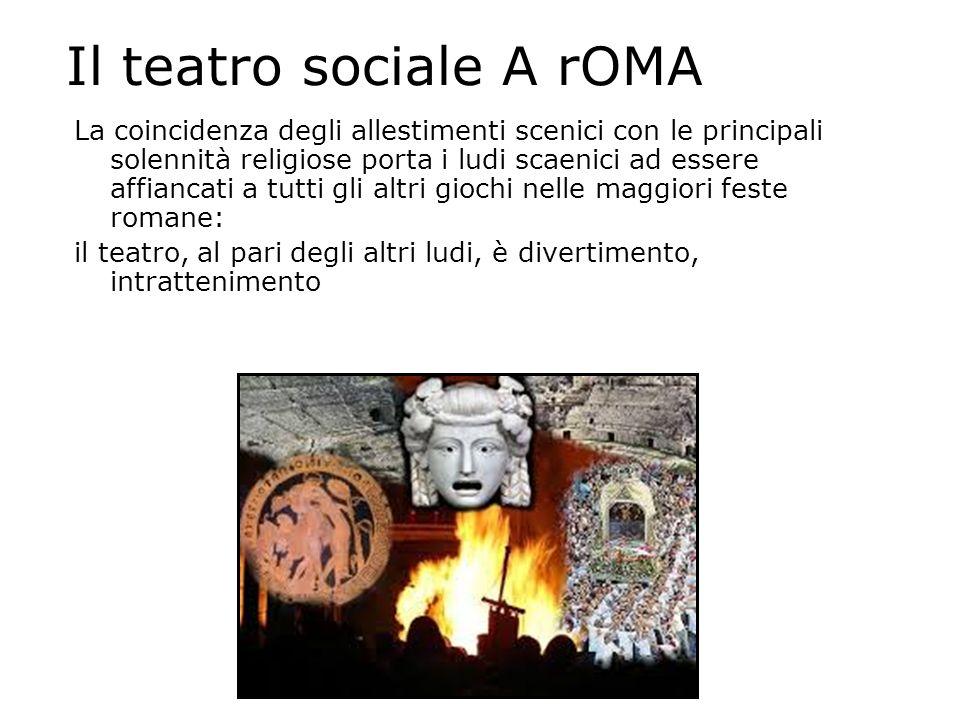 Il teatro sociale A rOMA La coincidenza degli allestimenti scenici con le principali solennità religiose porta i ludi scaenici ad essere affiancati a