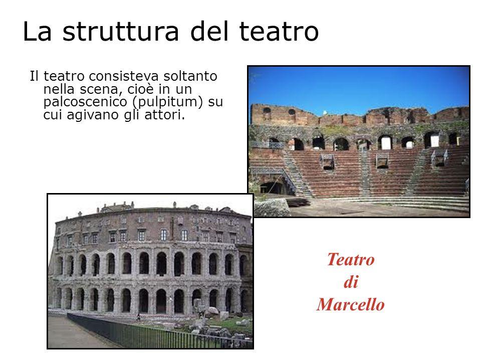 La struttura del teatro Il teatro consisteva soltanto nella scena, cioè in un palcoscenico (pulpitum) su cui agivano gli attori. Teatro di Marcello