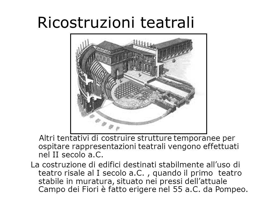 Ricostruzioni teatrali Altri tentativi di costruire strutture temporanee per ospitare rappresentazioni teatrali vengono effettuati nel II secolo a.C.