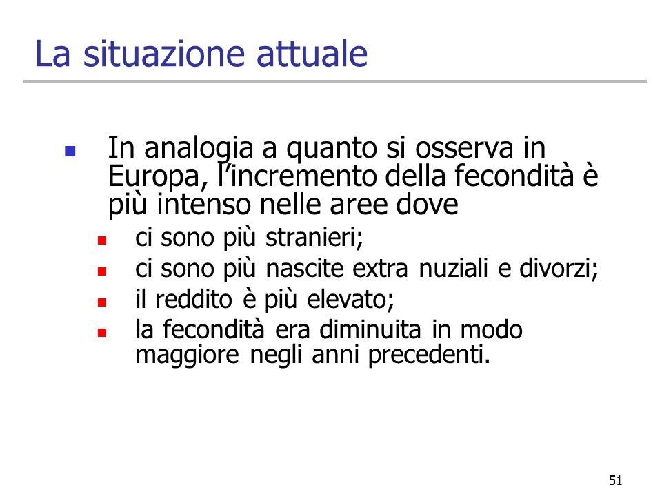51 La situazione attuale In analogia a quanto si osserva in Europa, lincremento della fecondità è più intenso nelle aree dove ci sono più stranieri; c