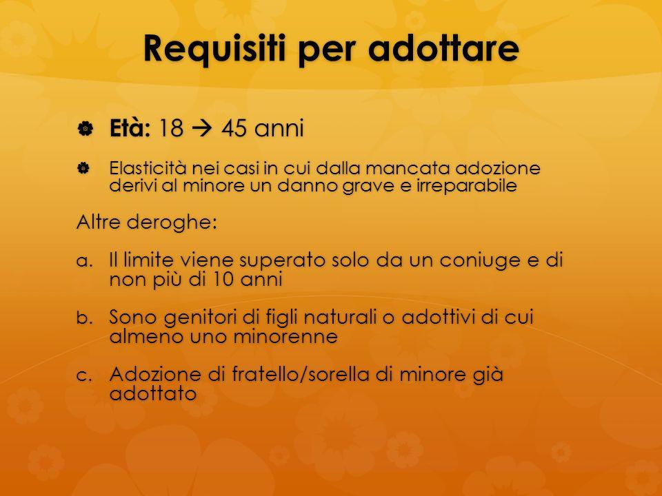 Requisiti per adottare Età: 18 45 anni Età: 18 45 anni Elasticità nei casi in cui dalla mancata adozione derivi al minore un danno grave e irreparabil