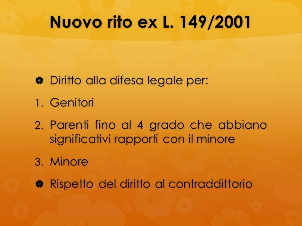 Nuovo rito ex L. 149/2001 Diritto alla difesa legale per: Diritto alla difesa legale per: 1. Genitori 2. Parenti fino al 4 grado che abbiano significa
