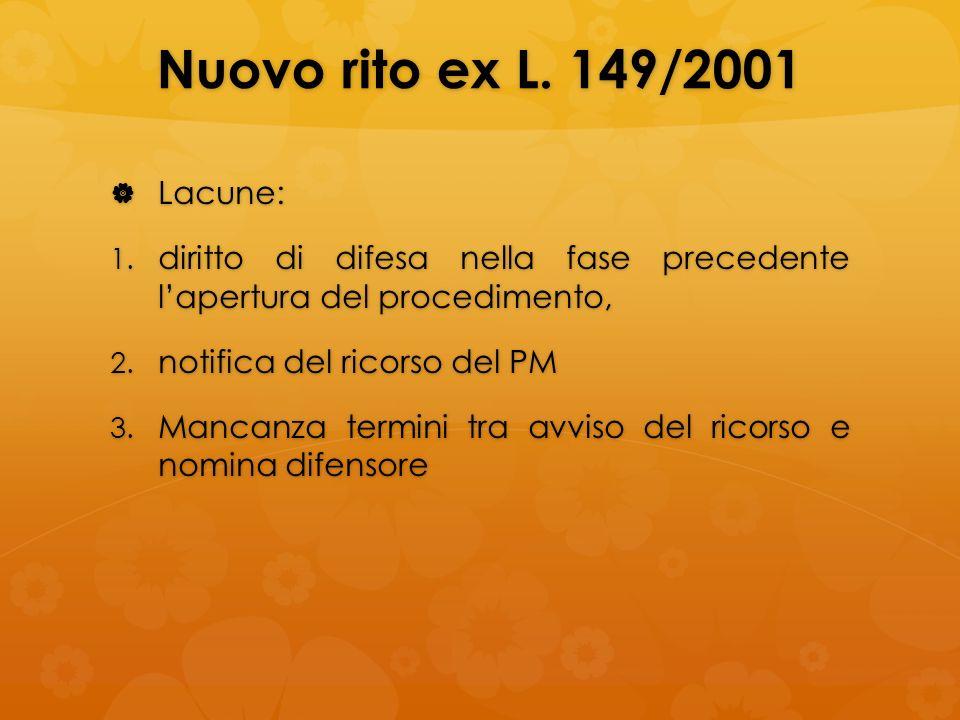 Nuovo rito ex L. 149/2001 Lacune: Lacune: 1. diritto di difesa nella fase precedente lapertura del procedimento, 2. notifica del ricorso del PM 3. Man