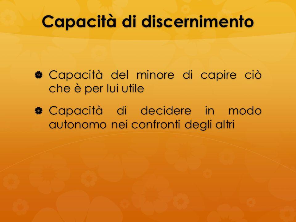 Capacità di discernimento Capacità del minore di capire ciò che è per lui utile Capacità del minore di capire ciò che è per lui utile Capacità di deci
