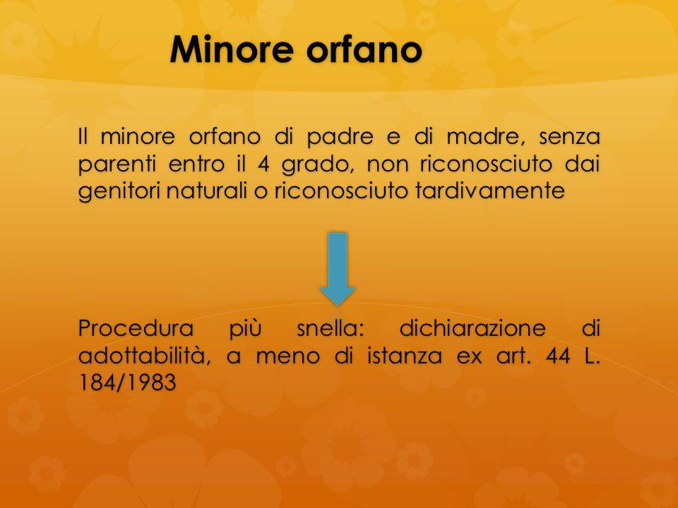 Minore orfano Il minore orfano di padre e di madre, senza parenti entro il 4 grado, non riconosciuto dai genitori naturali o riconosciuto tardivamente