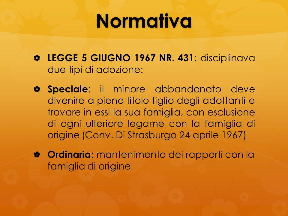 Normativa LEGGE 5 GIUGNO 1967 NR. 431 : disciplinava due tipi di adozione: Speciale : il minore abbandonato deve divenire a pieno titolo figlio degli