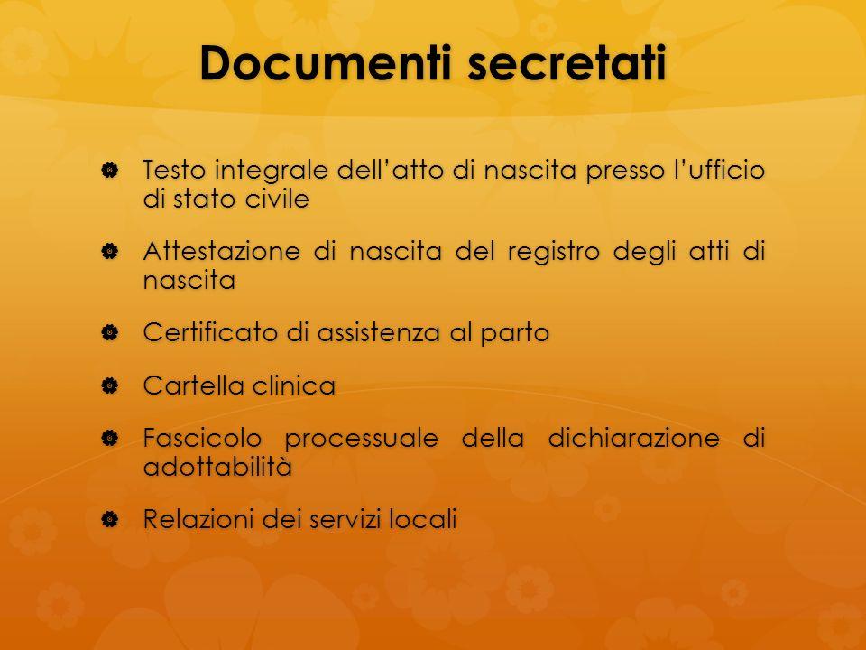 Documenti secretati Testo integrale dellatto di nascita presso lufficio di stato civile Testo integrale dellatto di nascita presso lufficio di stato c