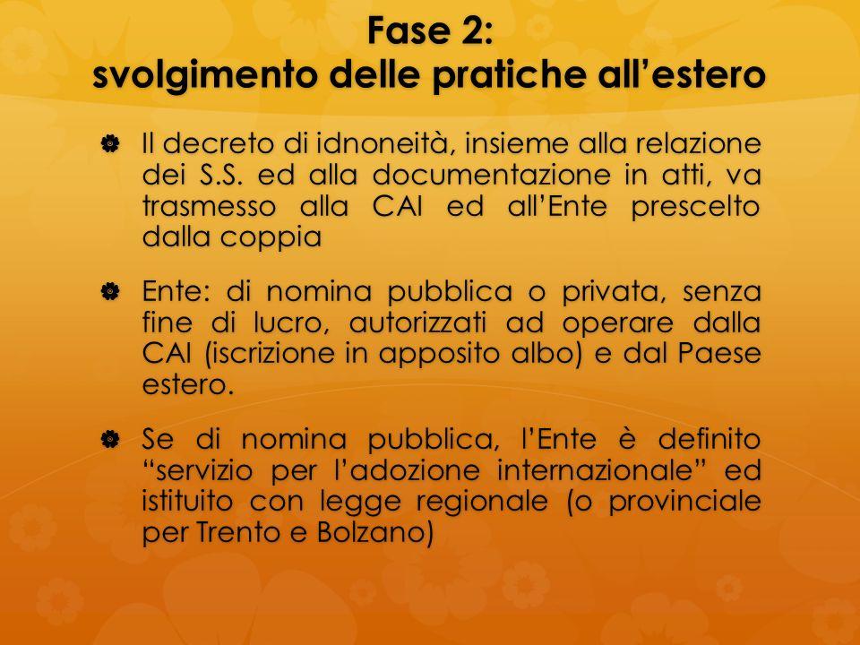Fase 2: svolgimento delle pratiche allestero Il decreto di idnoneità, insieme alla relazione dei S.S. ed alla documentazione in atti, va trasmesso all