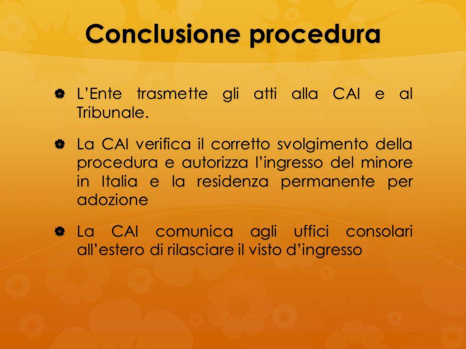 Conclusione procedura LEnte trasmette gli atti alla CAI e al Tribunale. LEnte trasmette gli atti alla CAI e al Tribunale. La CAI verifica il corretto