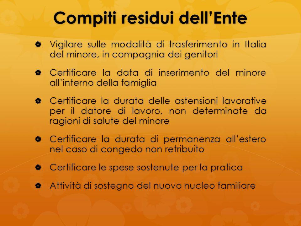 Compiti residui dellEnte Vigilare sulle modalità di trasferimento in Italia del minore, in compagnia dei genitori Vigilare sulle modalità di trasferim