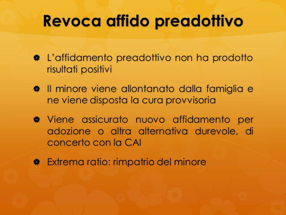 Revoca affido preadottivo Laffidamento preadottivo non ha prodotto risultati positivi Laffidamento preadottivo non ha prodotto risultati positivi Il m