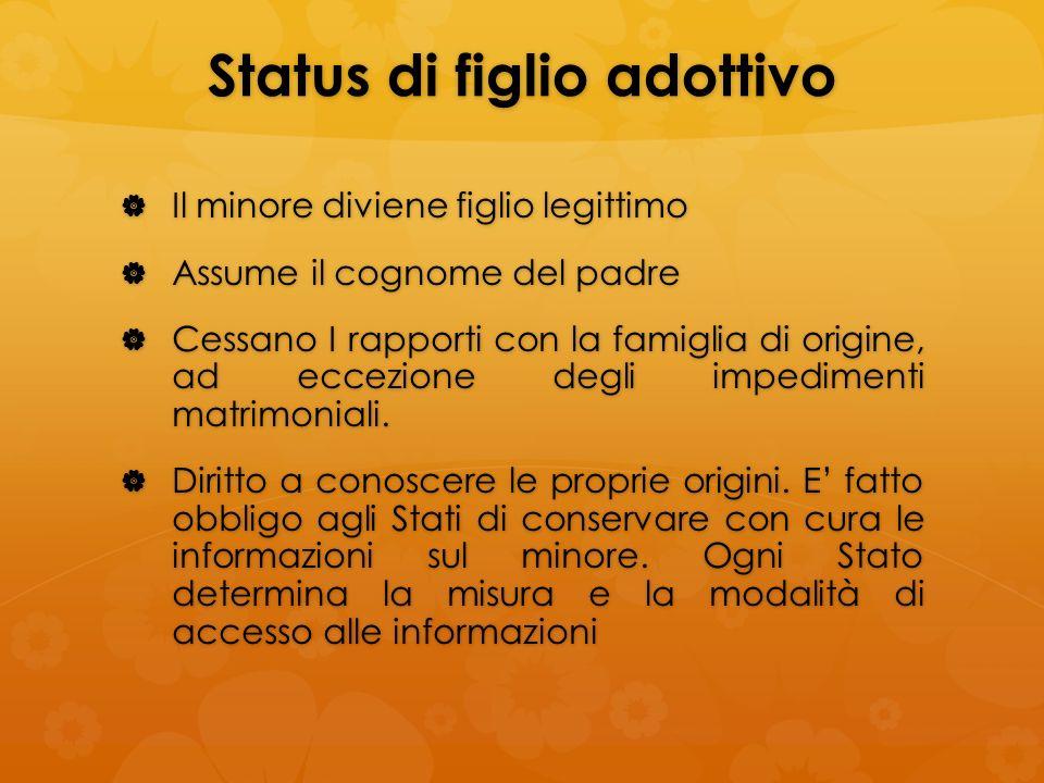 Status di figlio adottivo Il minore diviene figlio legittimo Il minore diviene figlio legittimo Assume il cognome del padre Assume il cognome del padr