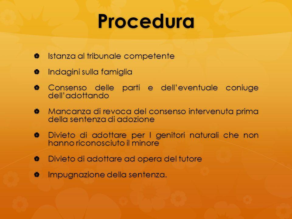 Procedura Istanza al tribunale competente Istanza al tribunale competente Indagini sulla famiglia Indagini sulla famiglia Consenso delle parti e delle