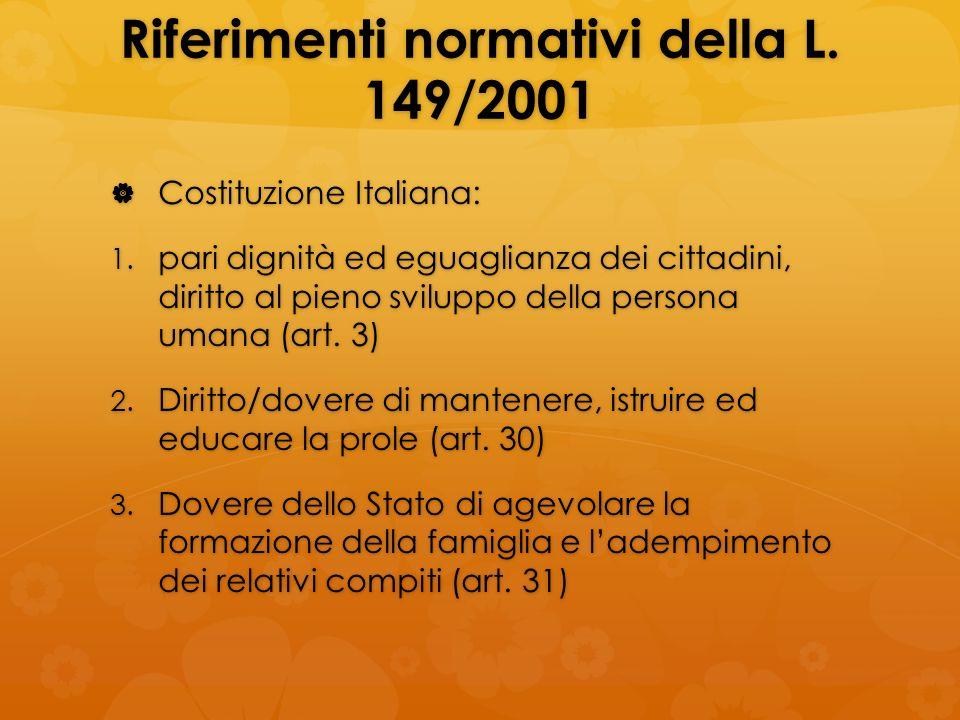 Riferimenti normativi della L. 149/2001 Costituzione Italiana: Costituzione Italiana: 1. pari dignità ed eguaglianza dei cittadini, diritto al pieno s