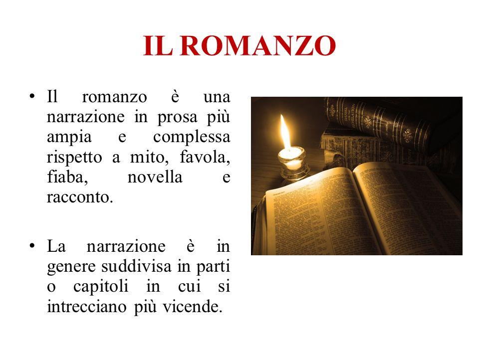 IL ROMANZO Il romanzo è una narrazione in prosa più ampia e complessa rispetto a mito, favola, fiaba, novella e racconto. La narrazione è in genere su
