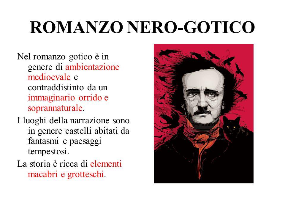 ROMANZO NERO-GOTICO Nel romanzo gotico è in genere di ambientazione medioevale e contraddistinto da un immaginario orrido e soprannaturale. I luoghi d