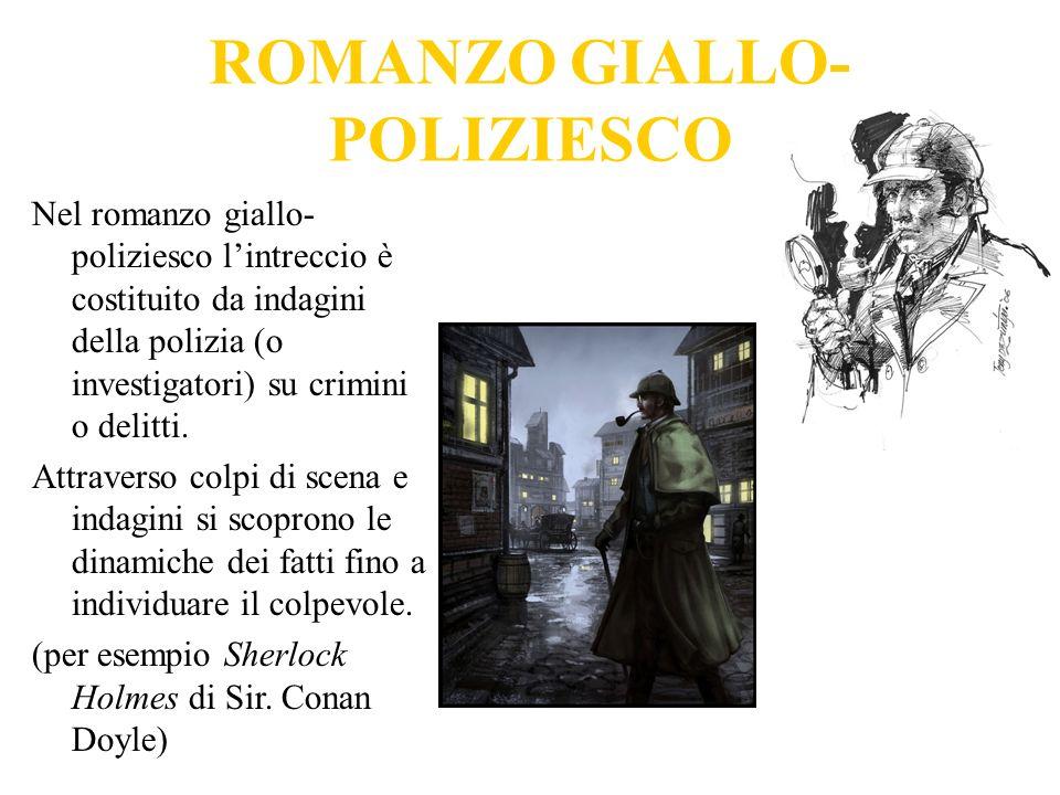 ROMANZO GIALLO- POLIZIESCO Nel romanzo giallo- poliziesco lintreccio è costituito da indagini della polizia (o investigatori) su crimini o delitti. At