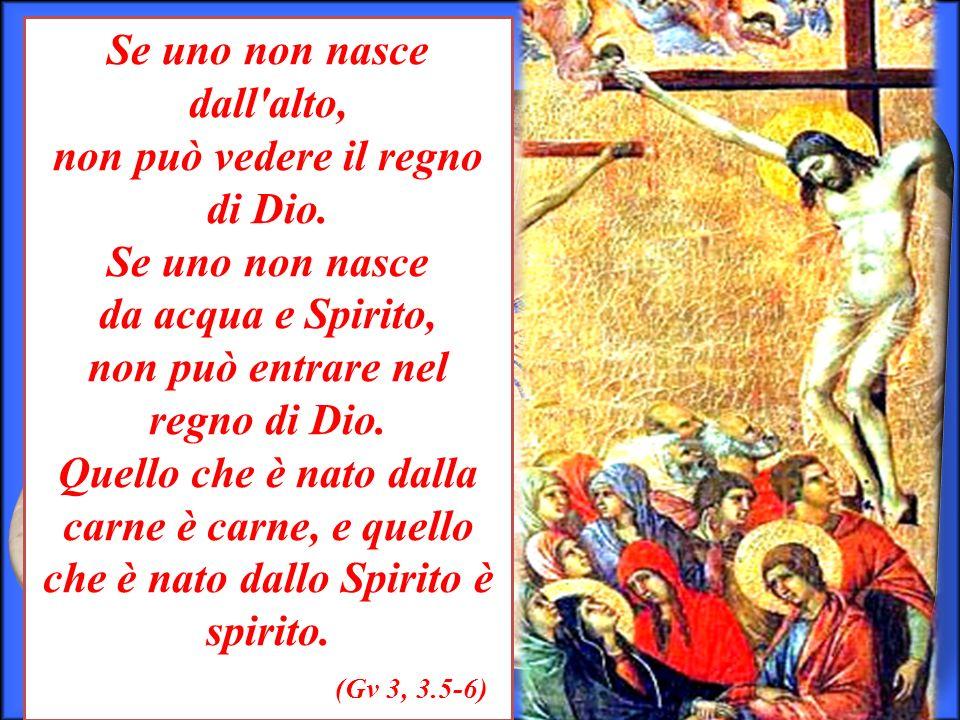 Se uno non nasce dall'alto, non può vedere il regno di Dio. Se uno non nasce da acqua e Spirito, non può entrare nel regno di Dio. Quello che è nato d