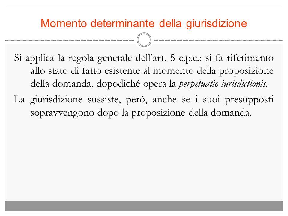 Momento determinante della giurisdizione Si applica la regola generale dellart. 5 c.p.c.: si fa riferimento allo stato di fatto esistente al momento d