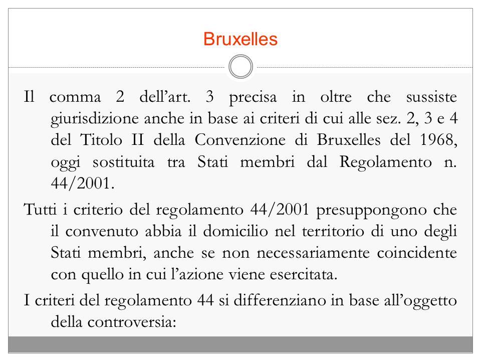 Bruxelles Il comma 2 dellart. 3 precisa in oltre che sussiste giurisdizione anche in base ai criteri di cui alle sez. 2, 3 e 4 del Titolo II della Con