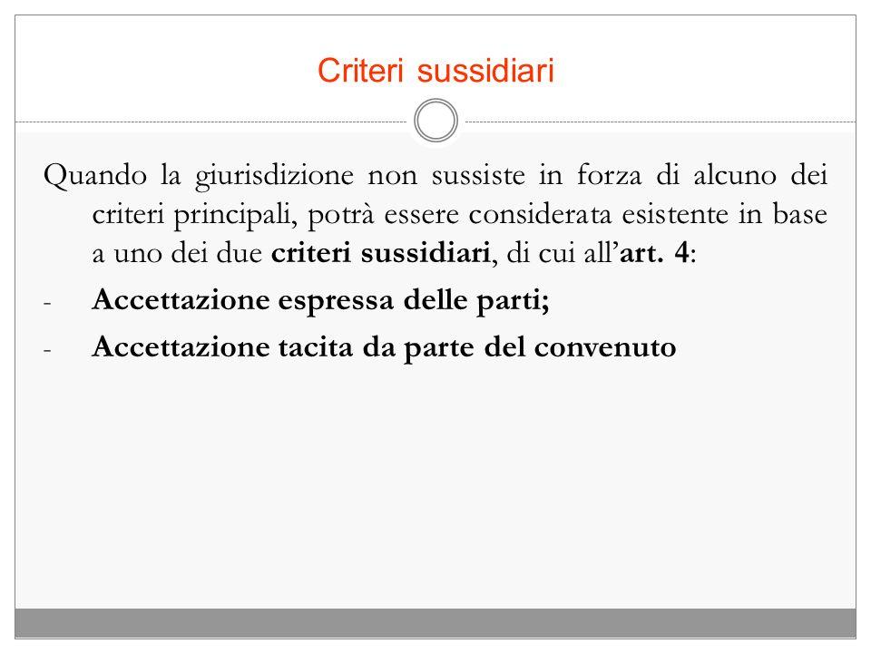 Criteri sussidiari Quando la giurisdizione non sussiste in forza di alcuno dei criteri principali, potrà essere considerata esistente in base a uno de