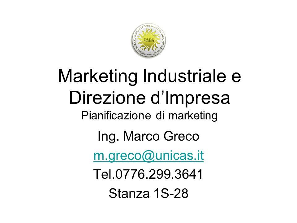 Marketing Industriale e Direzione dImpresa Pianificazione di marketing Ing. Marco Greco m.greco@unicas.it Tel.0776.299.3641 Stanza 1S-28