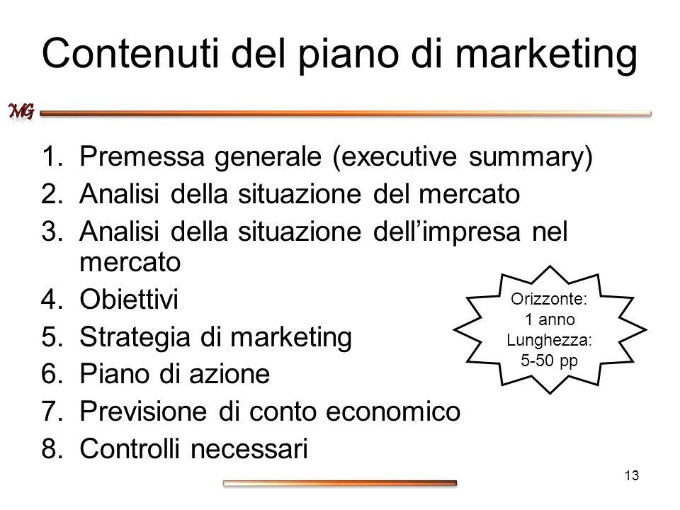 Contenuti del piano di marketing 1.Premessa generale (executive summary) 2.Analisi della situazione del mercato 3.Analisi della situazione dellimpresa